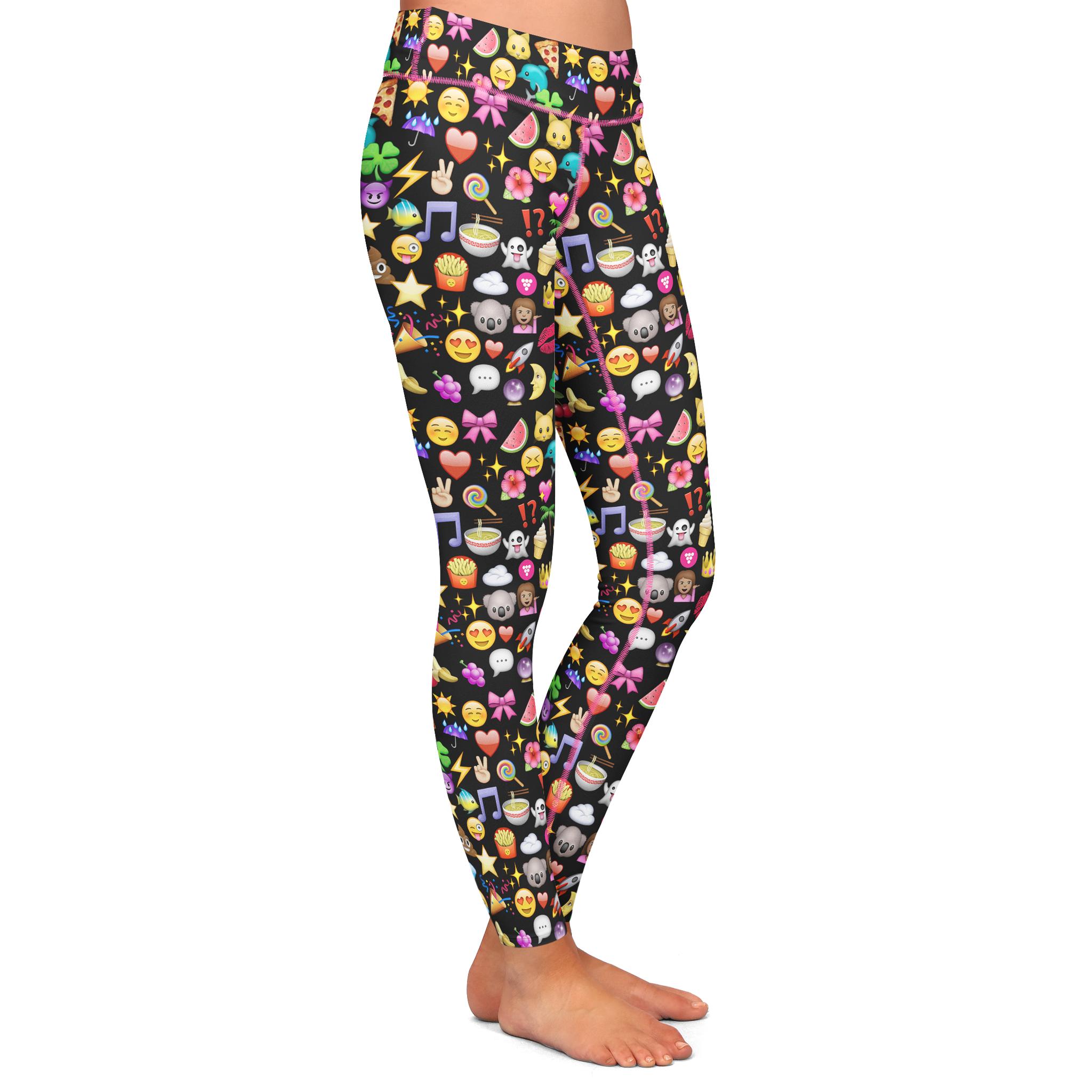 b96447af7cf7b1 Black Emoji Yoga Pants | Products | Yoga Pants, Pants, Yoga