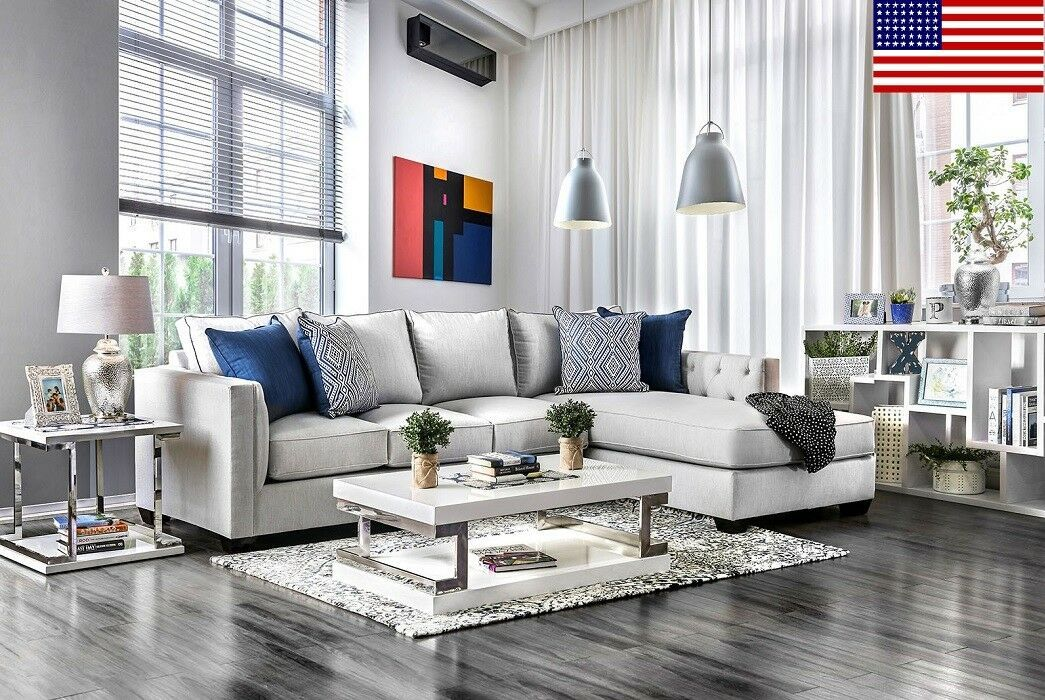 Made In Usa Sectional Sofa Living Room Furniture 2pc Set Sofa Chaise Gray Finish Sofa Set In 2020 Sectional Sofa Contemporary Living Room Design Living Room Designs