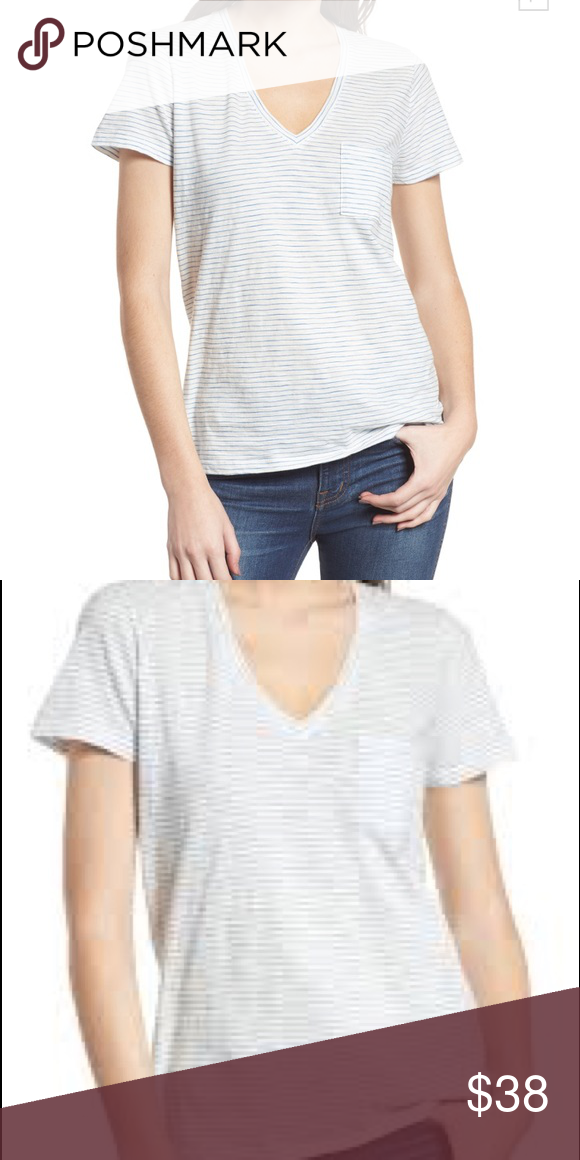 bf4dbf356d8738 Madewell Whisper Cotton Stripe V-Neck Tee Has very small hole Madewell Tops  Tees - Short Sleeve