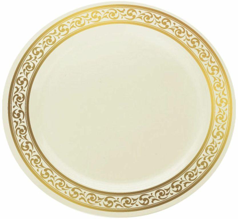 10.25  Premium Bone/Gold Plastic Dinner Plates  sc 1 st  Pinterest & 10.25