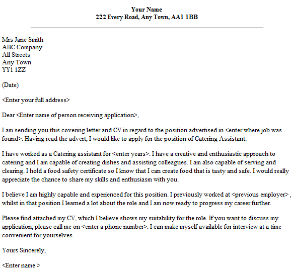 Catering assistant cover letter example icoverorguk