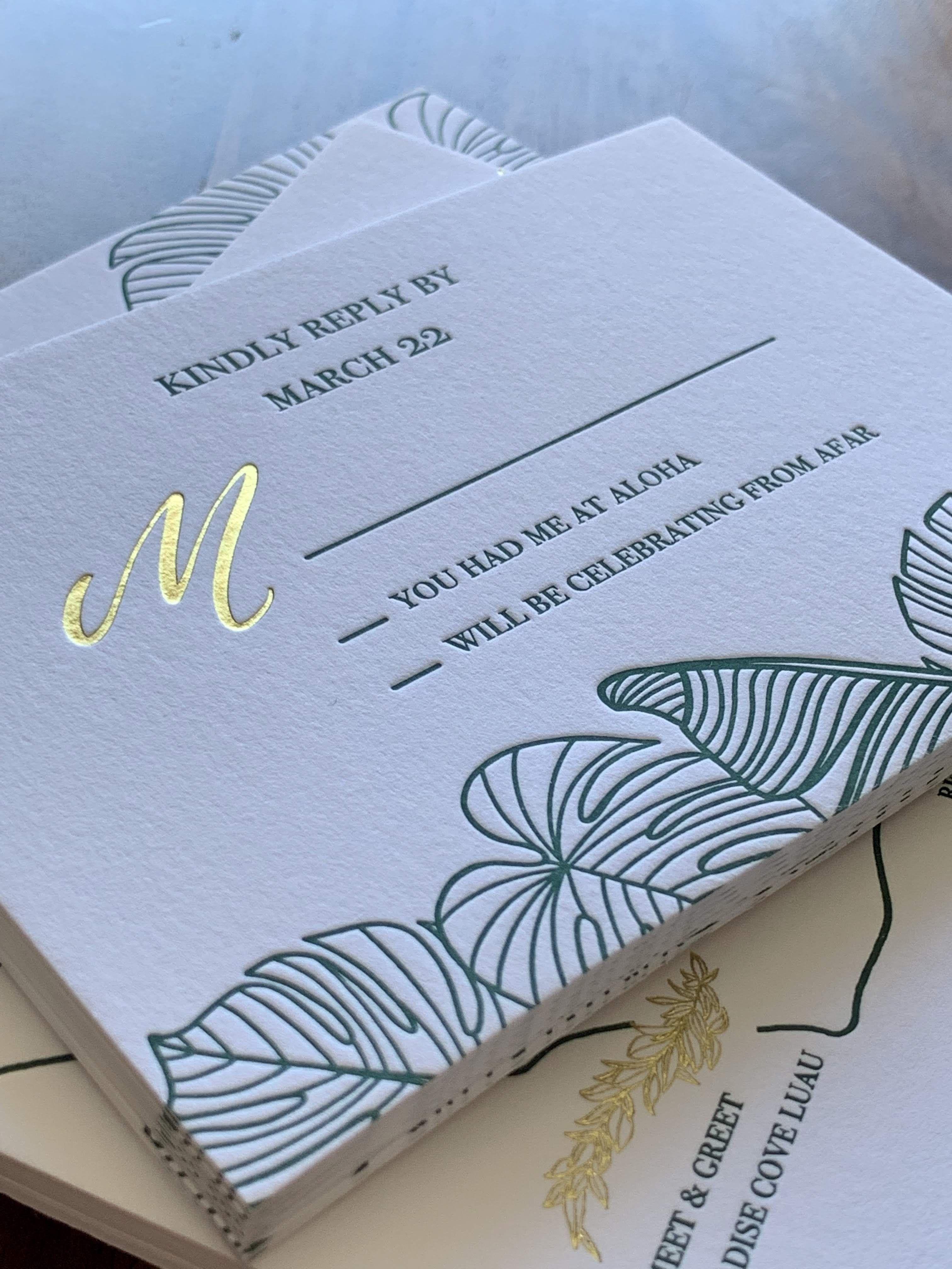 Intimate wedding in Hawaii  This wedding invitation set the