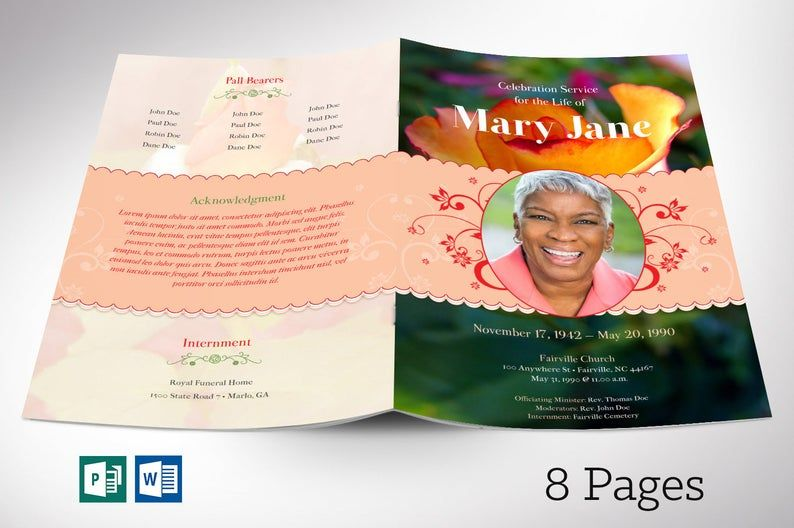 Funeral programs template for women with images