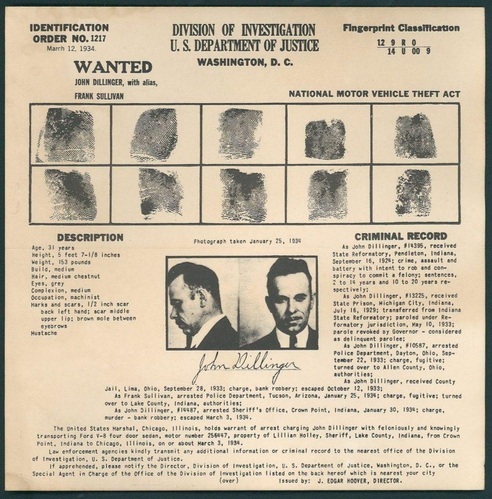 John Dilinger Finger Print Card Poster
