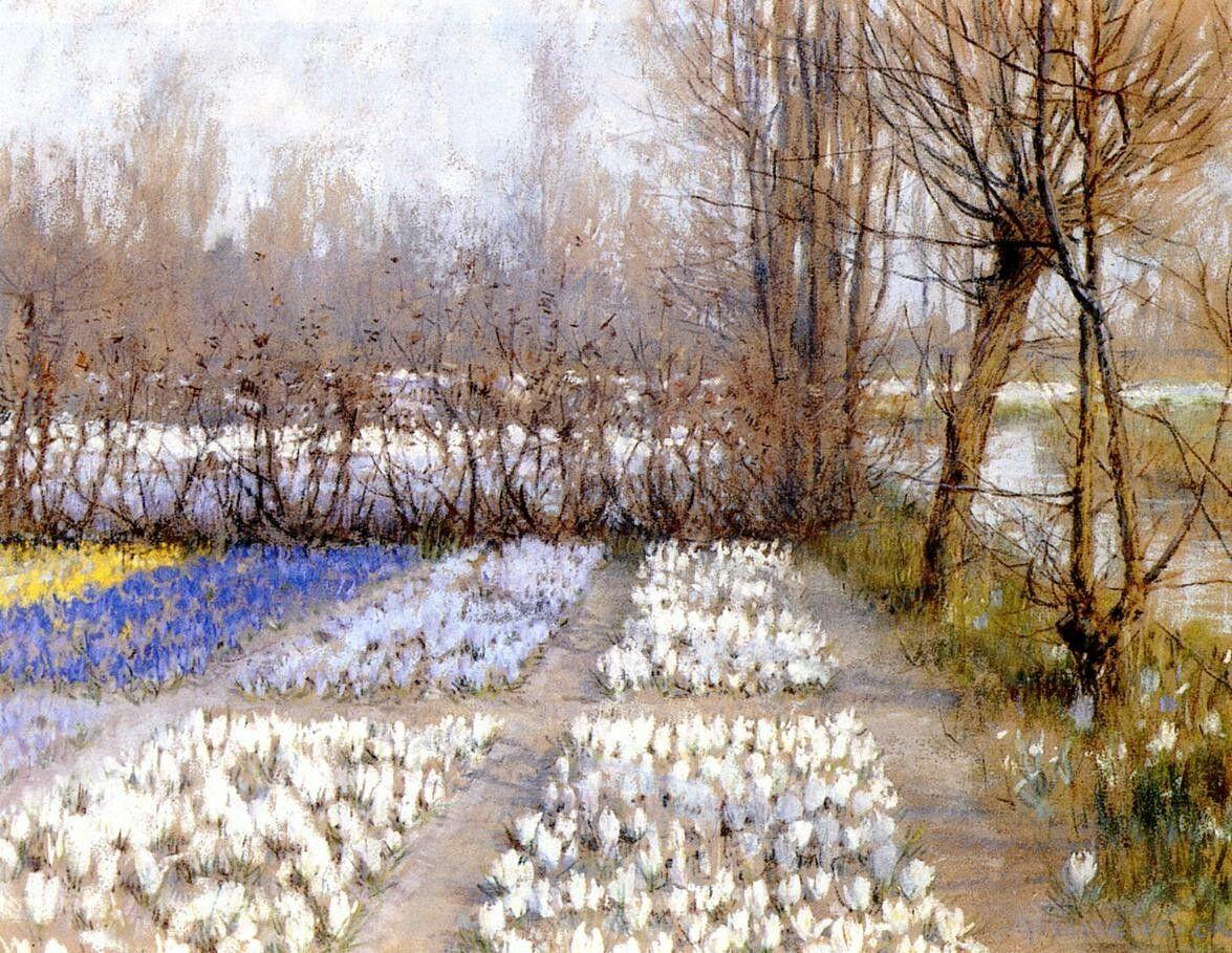 George Hitchcock- Spring Crocus Fields c.1889. Pastel.