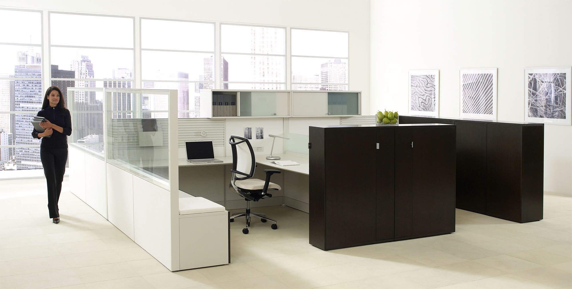 Montage Office Workstation & Panel Systems - Frosted Glass, Cubicle