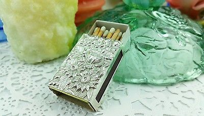 Kirk Repousse Flowers Sterling Silver Match Book Cover Great w/ Candle Sticks