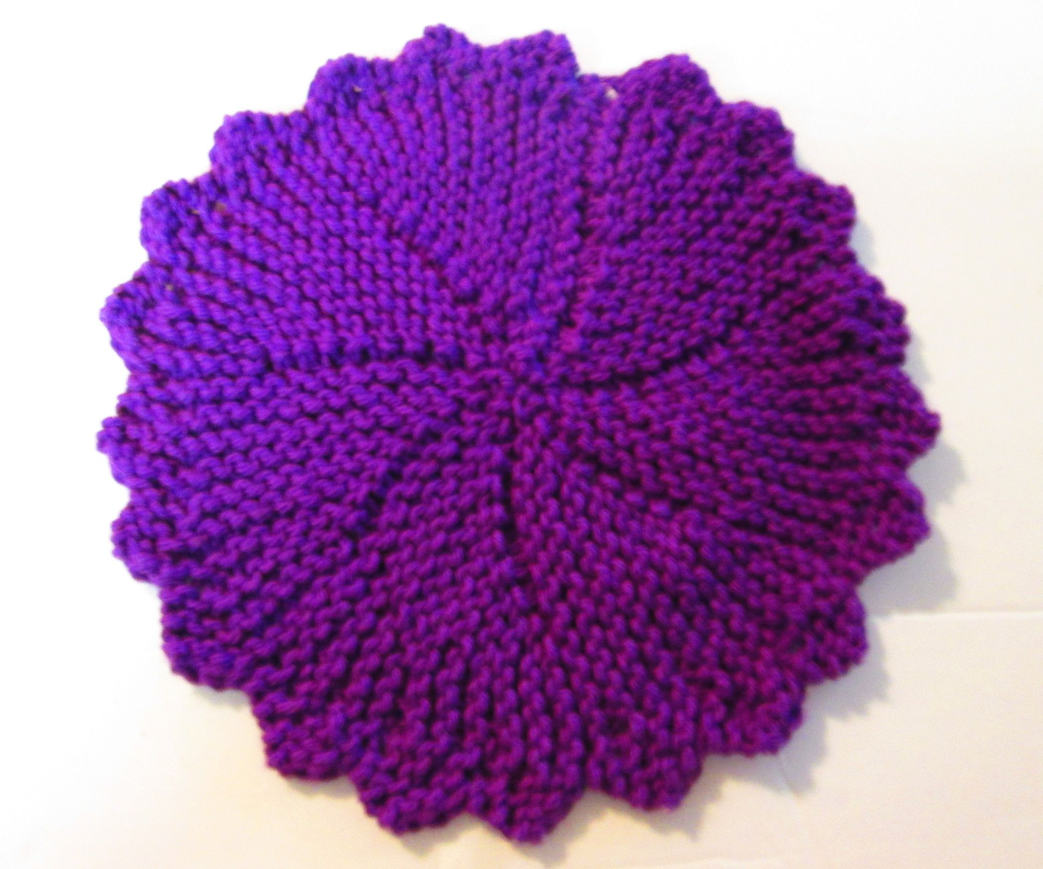 Knit a Round Purple Dish Cloth | Rounding, Patterns and Knitted ...