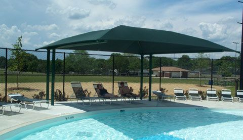 Cantilever Fabric Shade Structures Bleacher Shade Canopies Pool