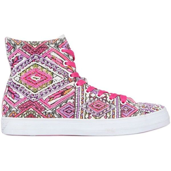 d8f13c881ae0 Lk Women Embellished Canvas High Top Sneakers ( 115) ❤ liked on Polyvore  featuring shoes
