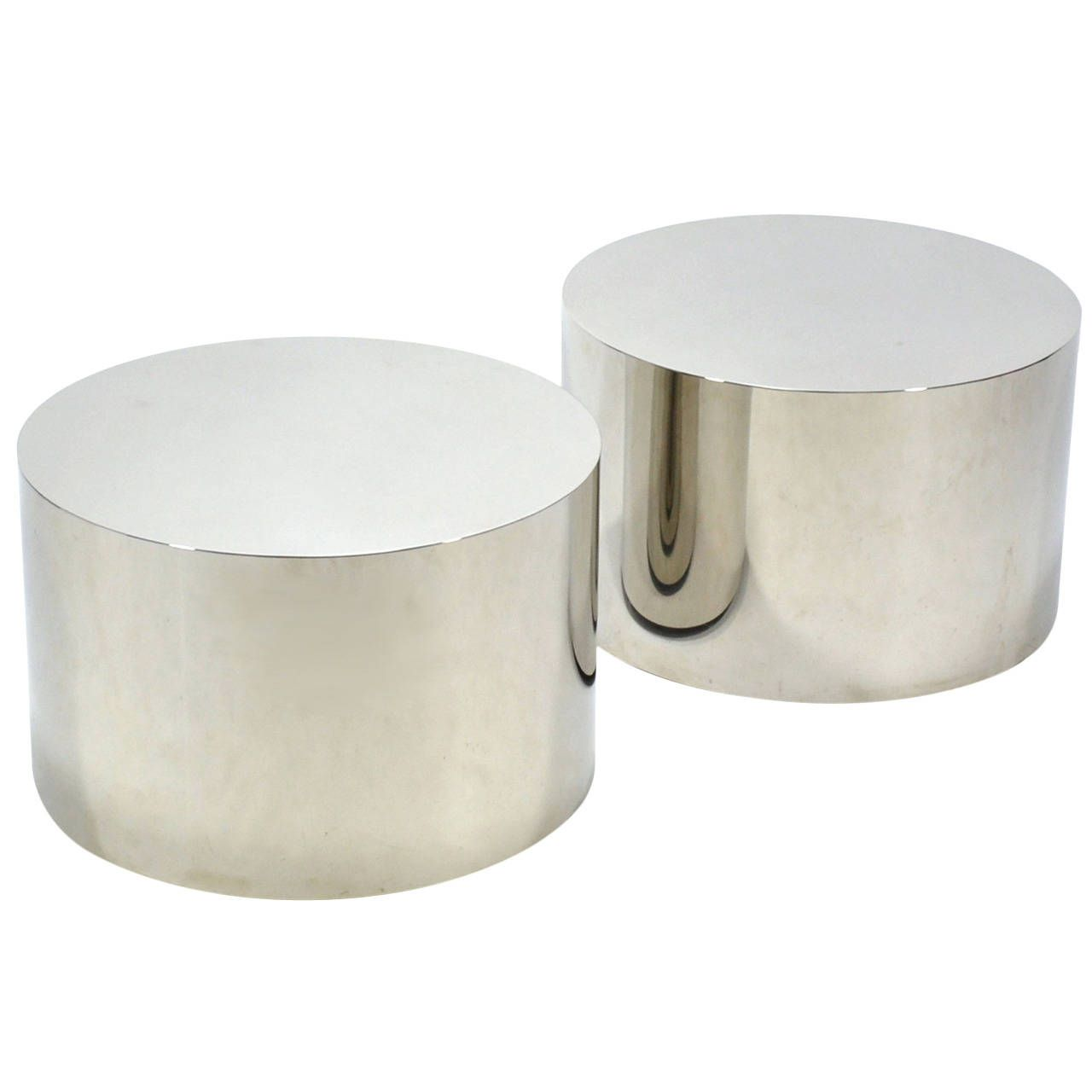 Milo Baughman Pair Of Stainless Steel Drum Tables See More Antique And Modern Coffee And
