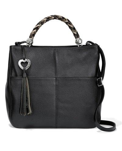 Smooth black leather Brighton H42983 Bahamas Handled Tote with short  braided and long handles