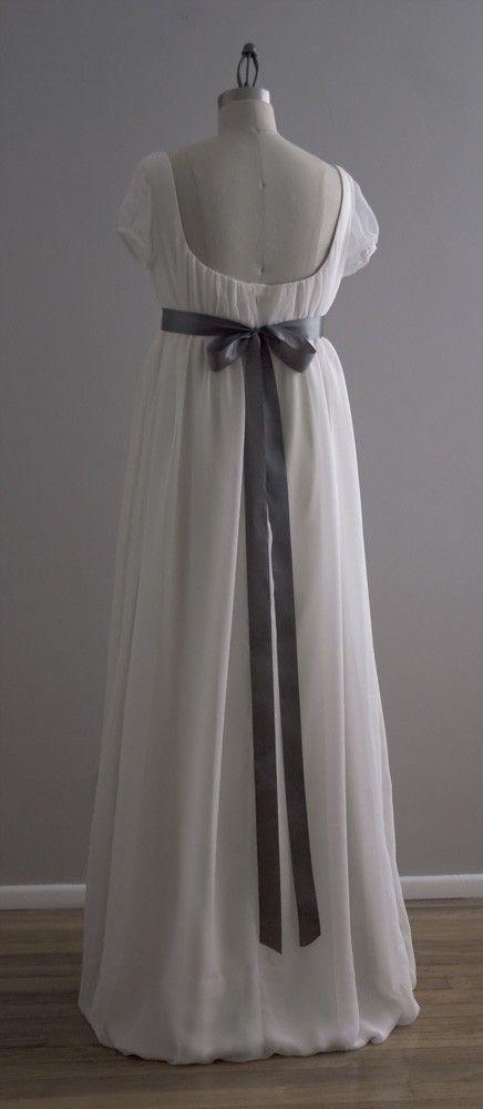 Jane - Wedding Dress - Eco Friendly Long Regency Gown with Cap ...