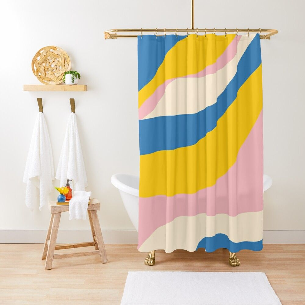 Retro Colour Waves Pattern In Bright Blue Mustard Yellow Pink And Cream Shower Curtain By Kierkegaa In 2020 Mustard Yellow Decor Retro Color Cream Shower Curtains