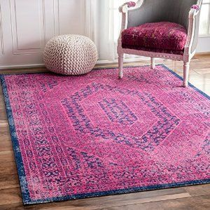 Amazon.com: Traditional Vintage Elaborate Floral Garden Hexagons Pink Area Rugs, (4' x 6'): Kitchen & Dining