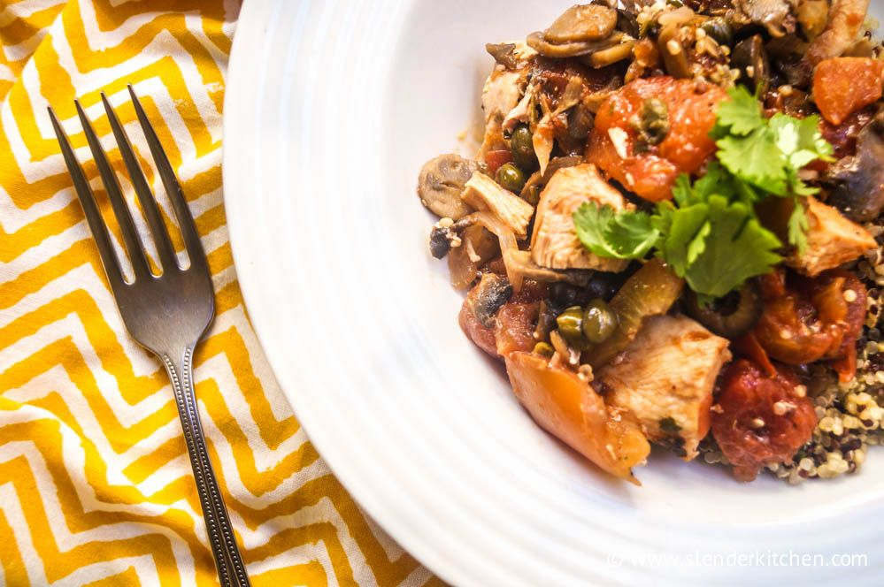 Slow Cooker Chicken Cacciatore with Mushrooms for 5 PointsPlus and 233 calories