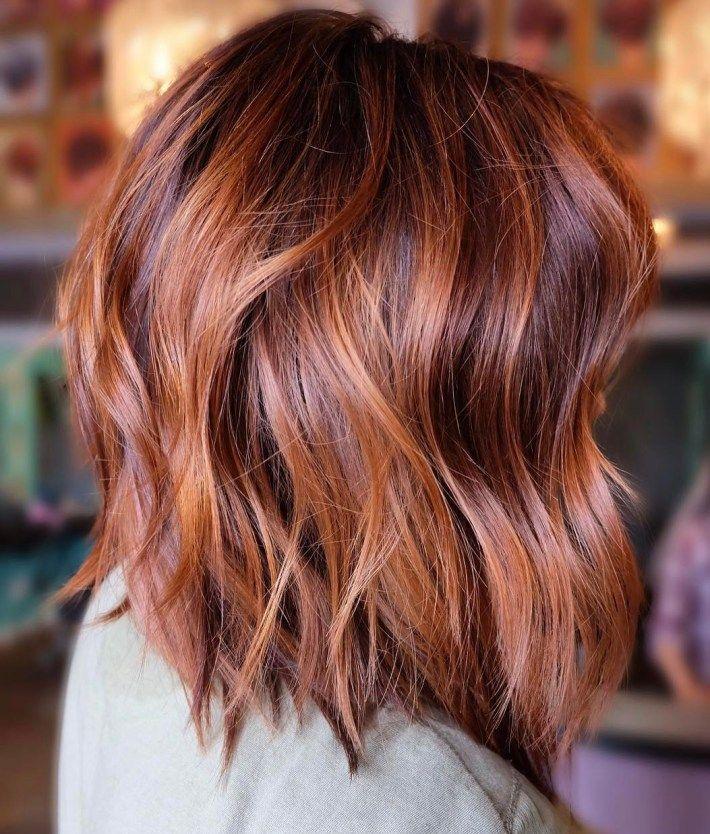 60 Inspiring Long Bob Hairstyles and Haircuts | Auburn hair | Copper balayage, Dyed hair, Hair ...