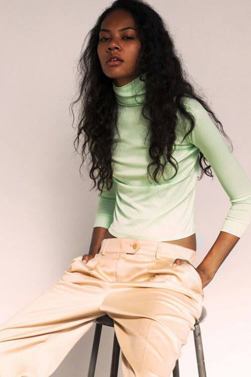 pastel outfit, styling inspiration, style, fashion photography, black model, fashion editorial