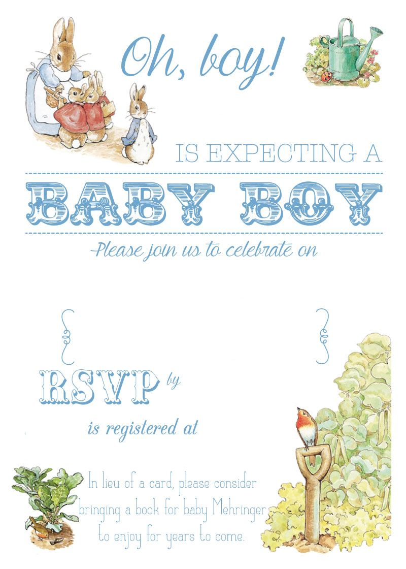Free Printable Peter Rabbit Baby Shower Invitation