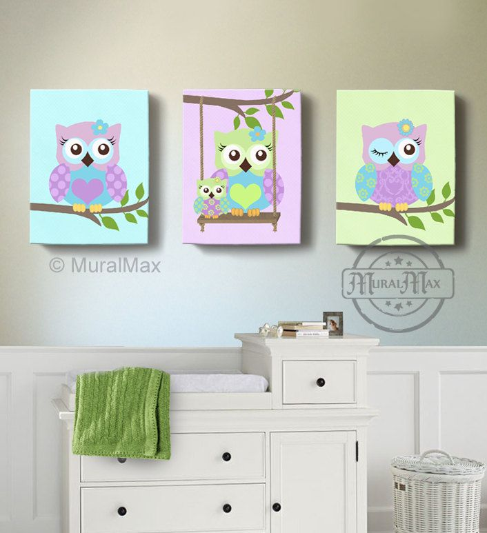 Green and Purple Owl Nursery Girl Room Decor - OWL canvas art, Baby ...