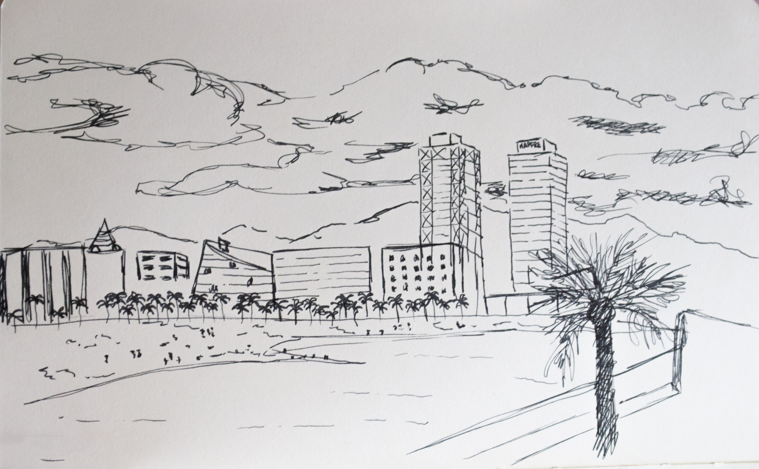 Maphre Towers, Barceloneta beach. Barcelona. Landscape made with pen, fast sketch.