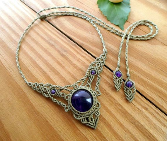 unique gift for her. One of a kind choker necklace Pietersite necklace gemstone Macrame jewelry