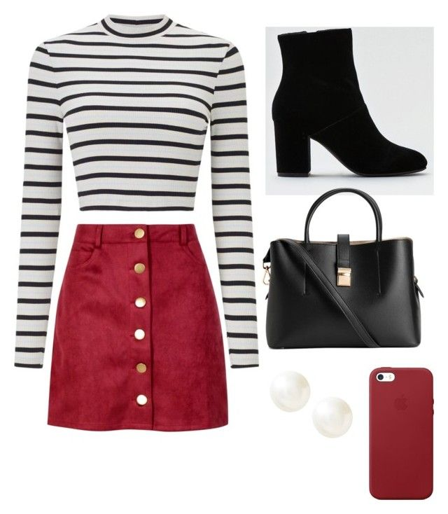 """""""Casual School Day Outfit #25"""" by seragart on Polyvore featuring Miss Selfridge, Boohoo, American Eagle Outfitters, H&M, Apple and Banana Republic"""