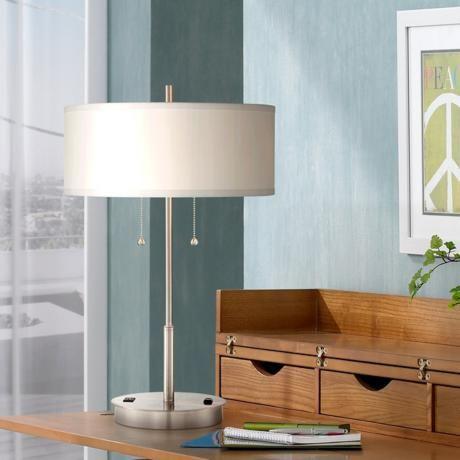 Nikola Metal Table Lamp With Usb Port And Utility Plug 7j478 Lamps Plus Metal Table Lamps Desk Lamp Design Lamp