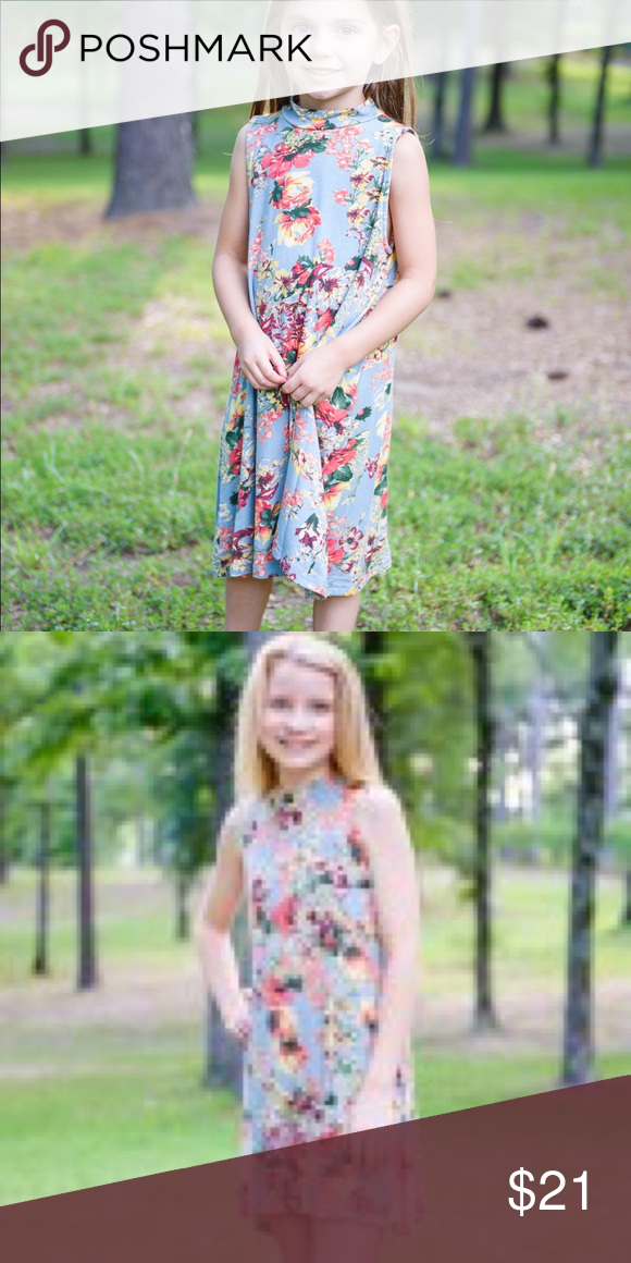 45b8e05f037 Girls floral mock neck tank dress.  21 Cute super soft mock neck floral  dress.