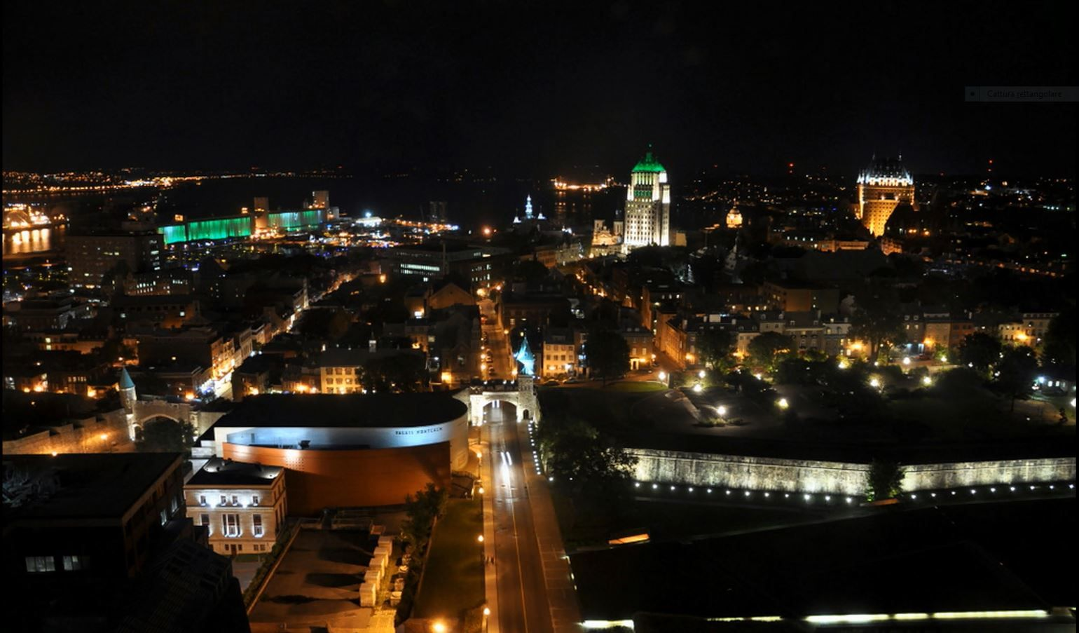 Quebec city night hotel view