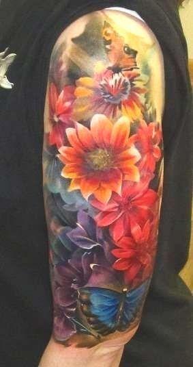 Photo of #Arm #Schmetterling #Blume #Tattoos #Aquarell #Blume