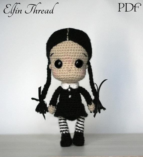 Elfin Thread- Wednesday Addams Chibi Doll Amigurumi PDF Pattern ...