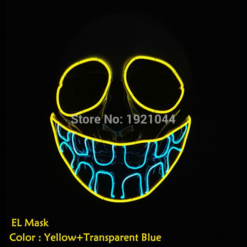 New type Halloween Buck teeth clown Mask Flashing EL wire Glowing