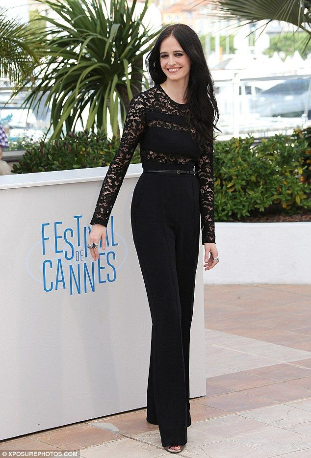 Eva Green highlights her lithe frame in lacy black jumpsuit at ...