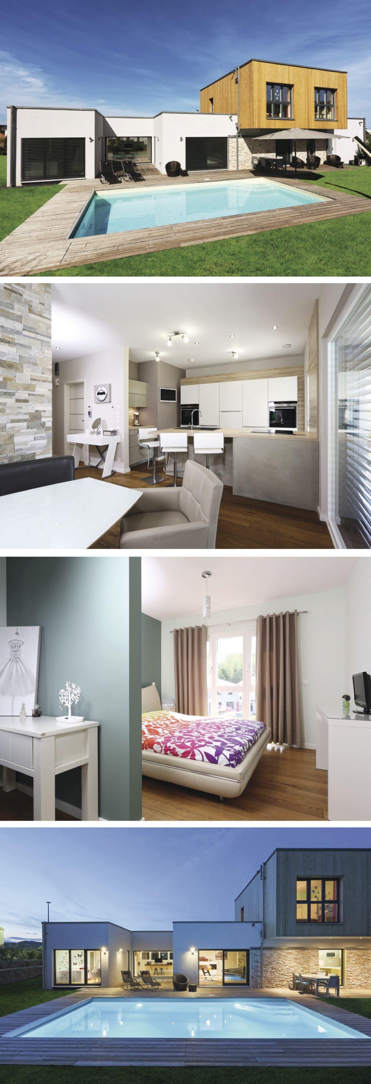 Modernes Design Haus mit Flachdach-Architektur - Einfamilienhaus ...