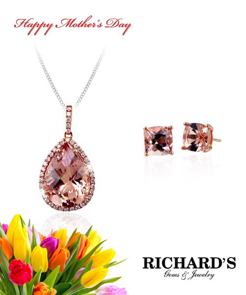 Pear shape morganite and diamond pendant in 18k rose gold and morganite stud earrings