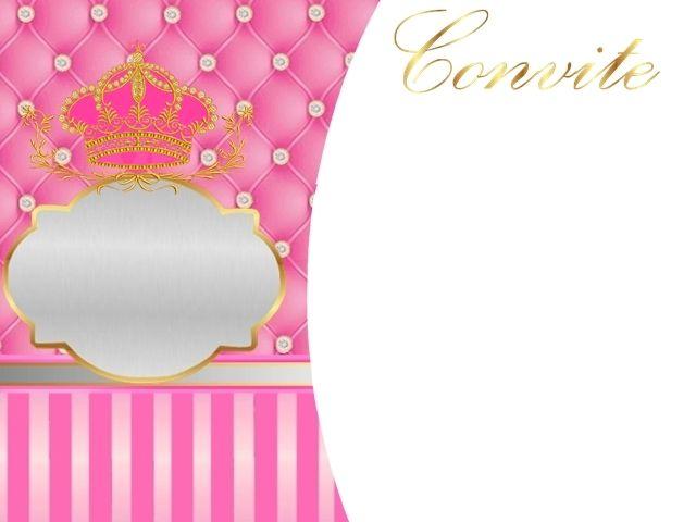 Corona Dorada En Fondo Rosa Con Brillantes: Invitaciones