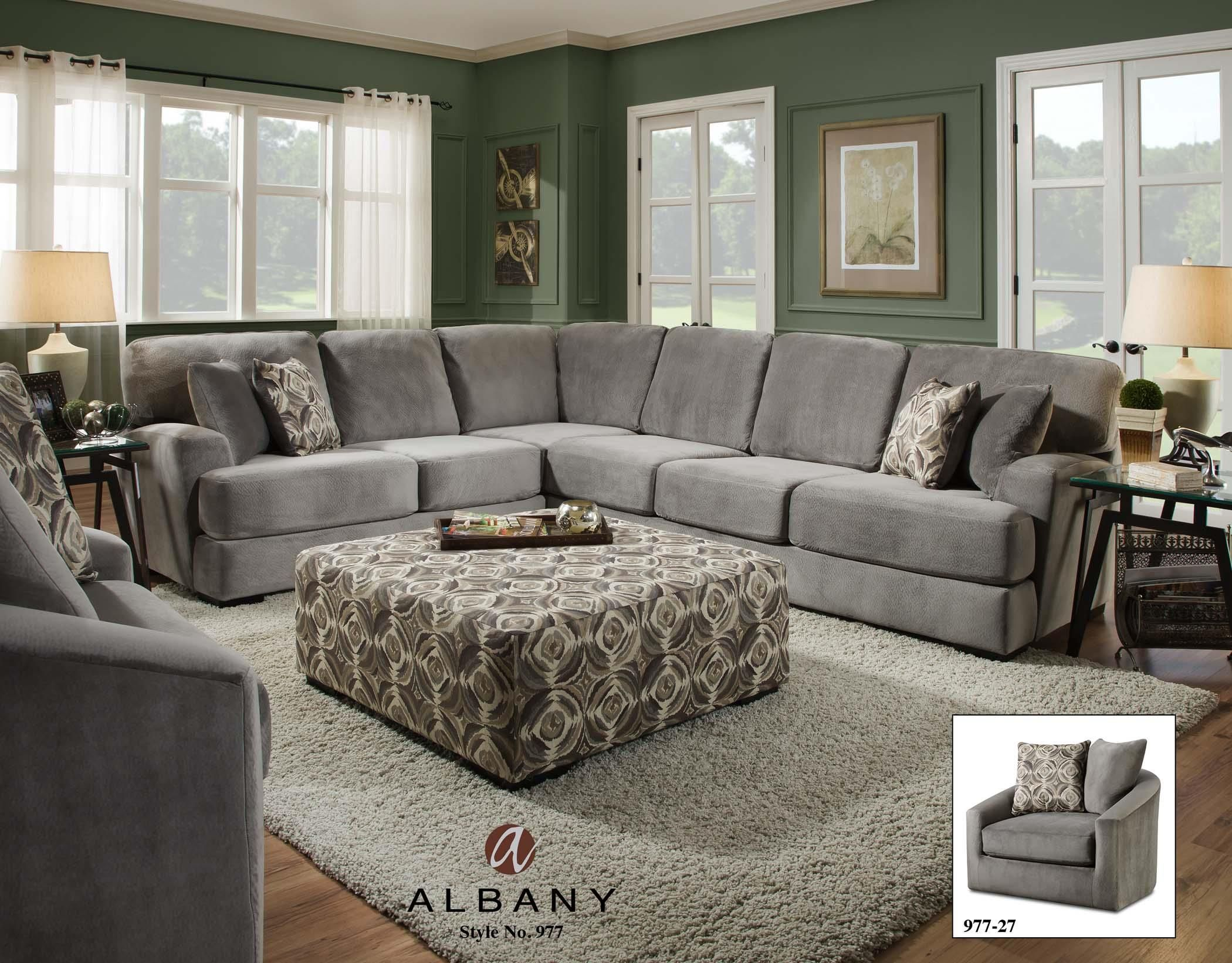 The Ultra Comfortable Serre Suede Sectional Sofa Features Soft Padded Upholstery With Sleek Contoured Arms Perfect For Any Contemporary Living Room