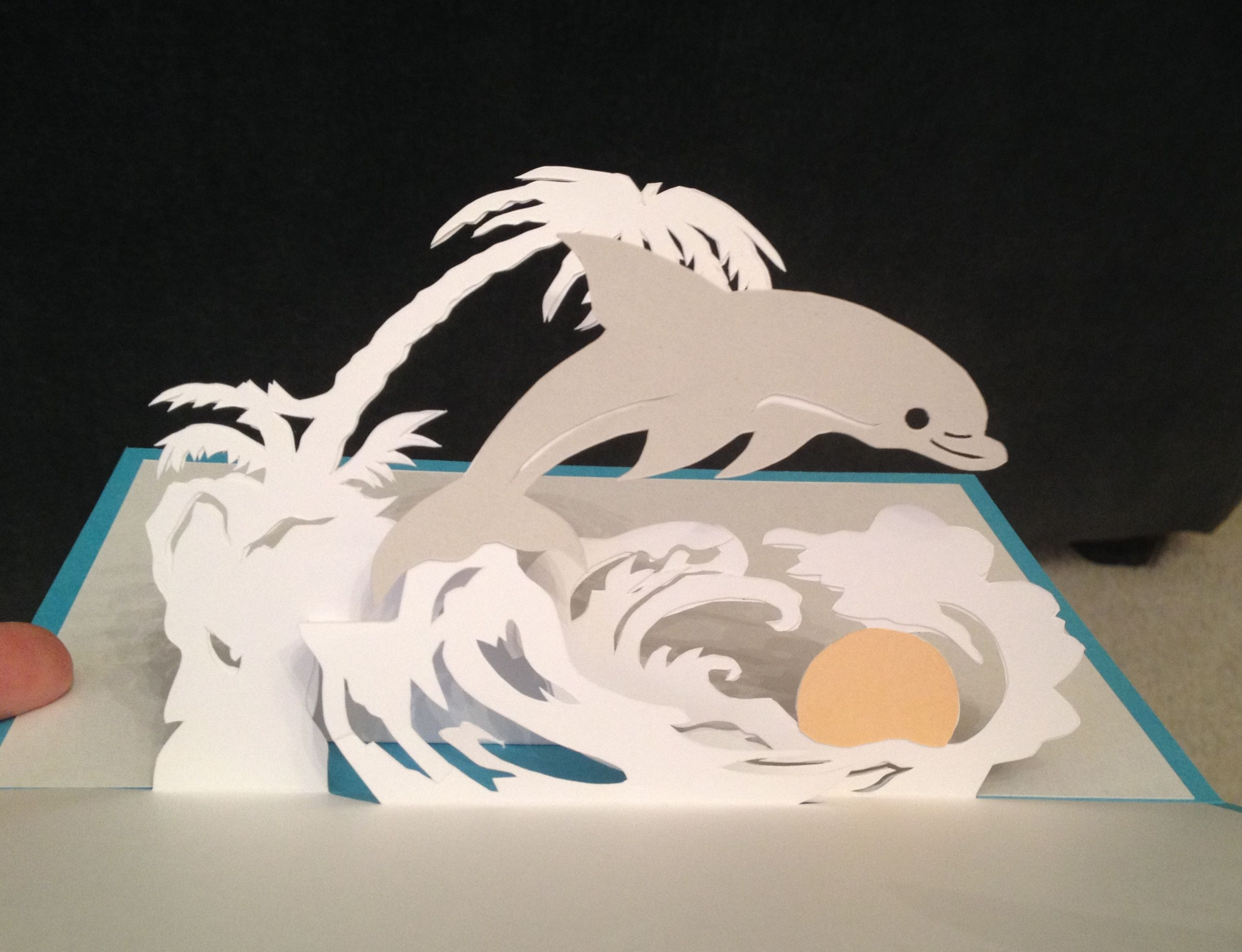 """Dolphin at sunset pop-up card (Template from """"cahier de kirigami no. 16"""")"""