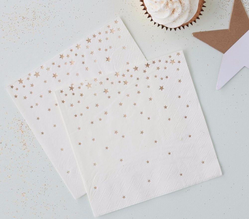 Gold Star Print Cocktail Napkins x 20 - Christmas Table/gold themed wedding #GingerRay #Christmas