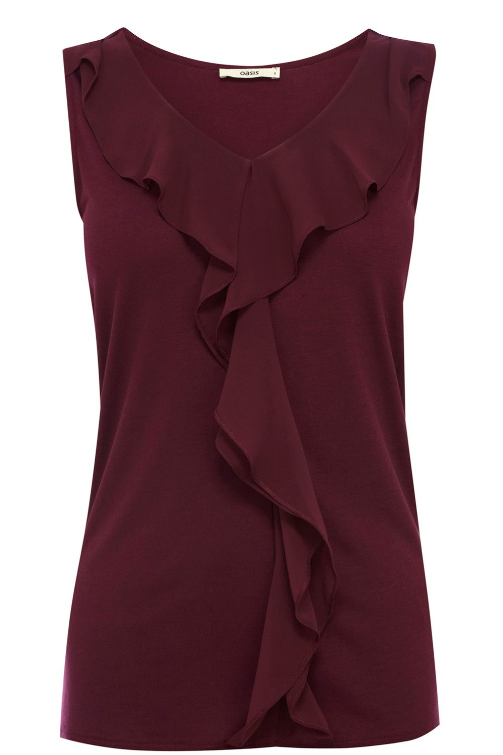 2678a5975203ec Ruffle Shell Top | Red | Oasis Stores | Style | Tops, Shell tops ...
