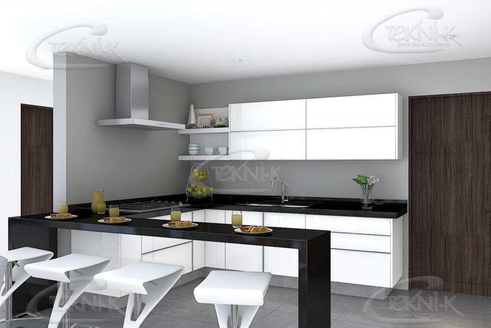 Cocina en blanco alto brillo con jaladera de aluminio integrada