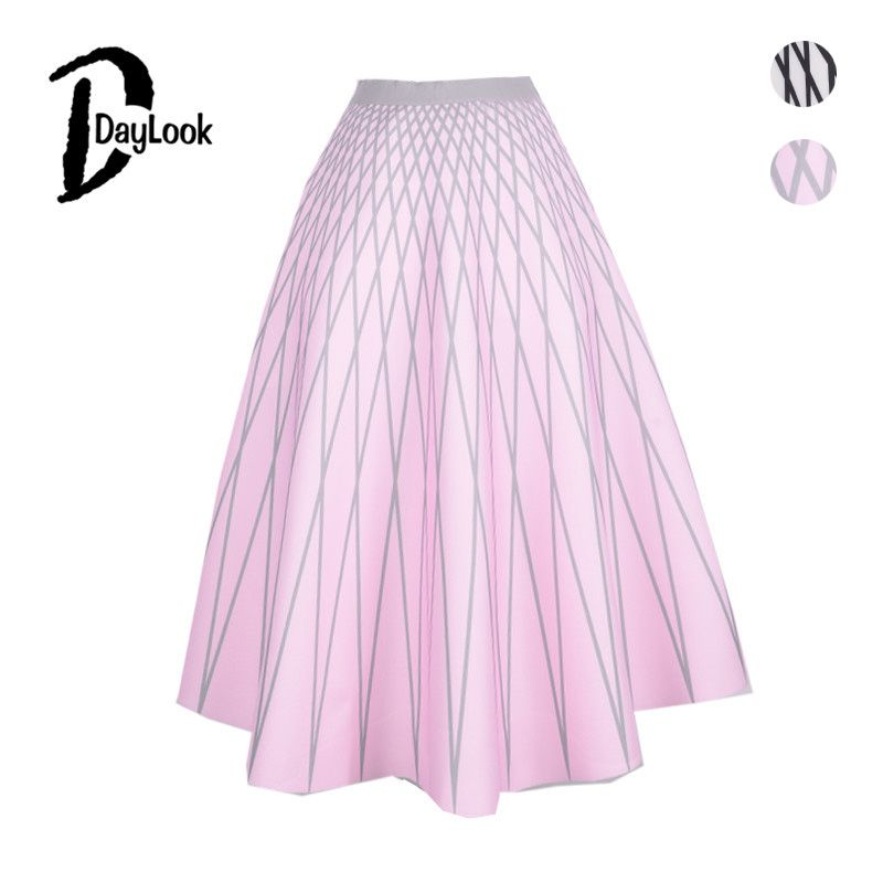DayLook Grid Print Long Skirt Vintage Pleated Midi Skirt Elegant Skater Space Cotton Womens Skirts Maxi Tutu Elastic Empire Saia