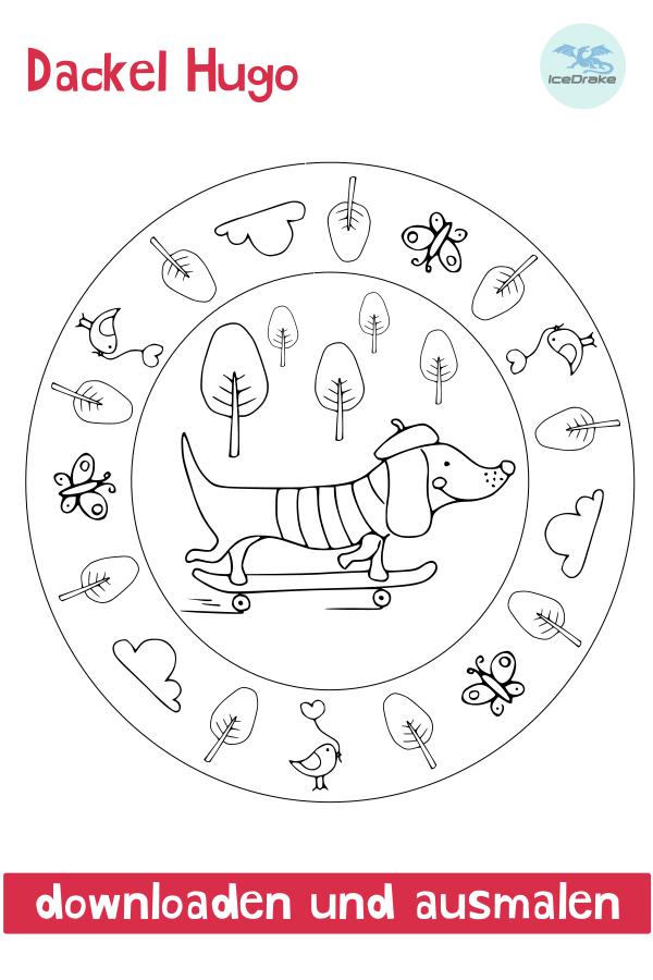 Ausmalbild Hund - Dackel Hugo Kids rugs Print Kids