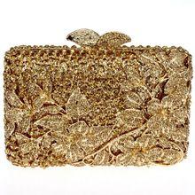 Dc1989 lujo lleno de cristal para mujer noche embragues Light Topaz mujer fiesta duro estuche oro Color bolsos de mano hombro cadena caja de regalo(China (Mainland))