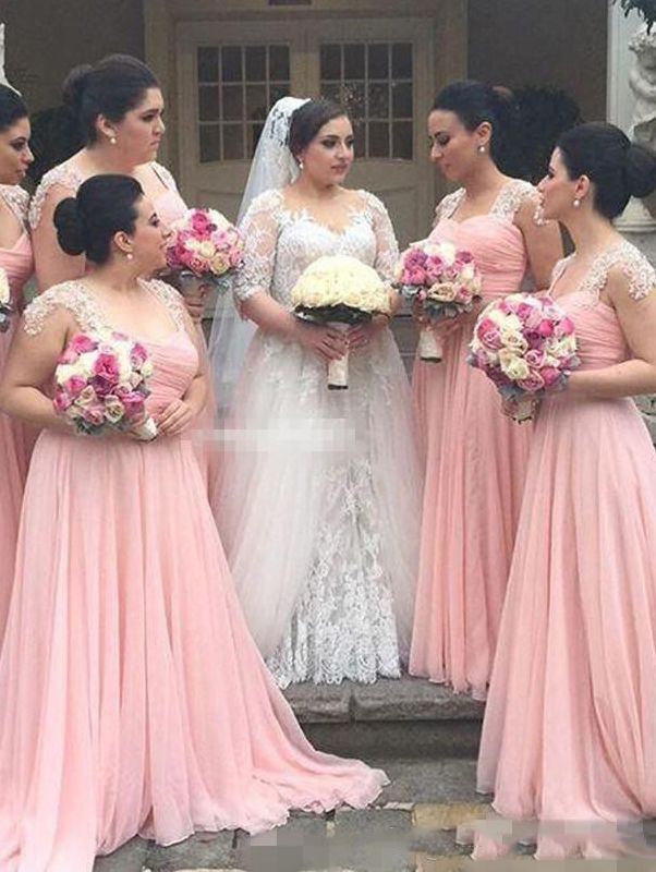 Elegant A-line Pink Long Chiffon Bridesmaid Dress with Cap Sleeves ...