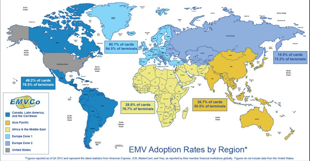Why even north korea outpaces the us in credit card security a world map shows only one dead zone when it comes to embracing emv chip pin credit card technology the usa remote countries such as bhutan gumiabroncs Choice Image