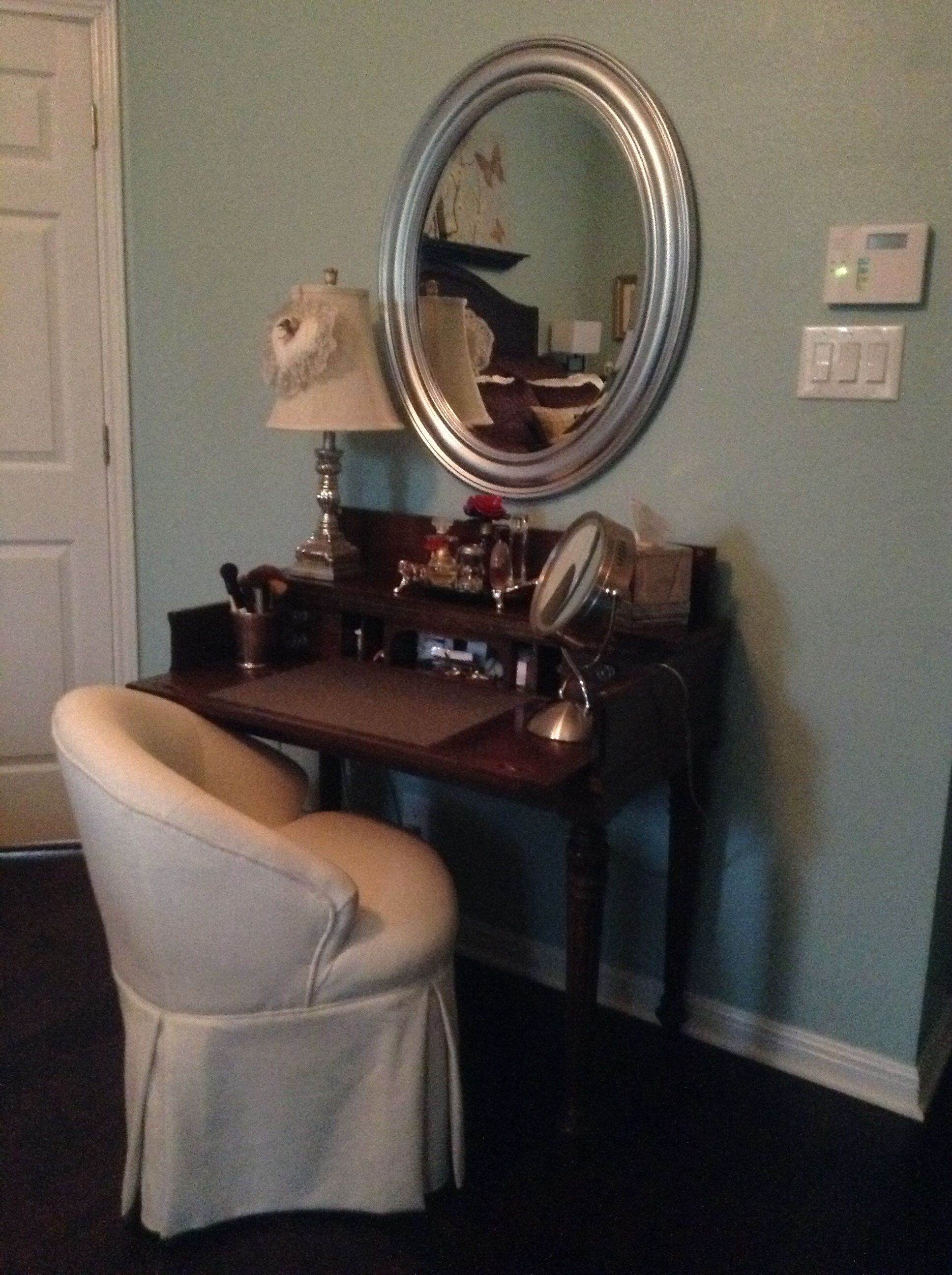 Antique desk used as vanity | Designed by me! | Pinterest ...