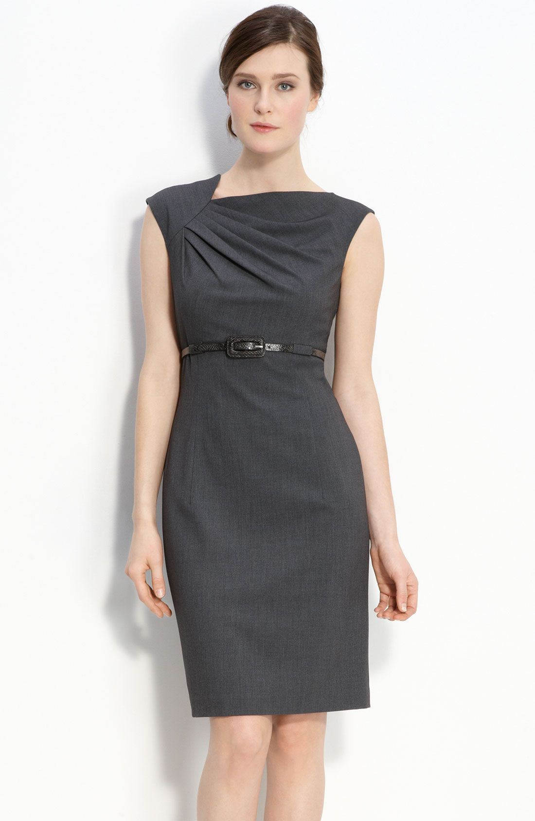 calvin-klein-charcoal-belted-asymmetrical-sheath-dress-product-2 ...