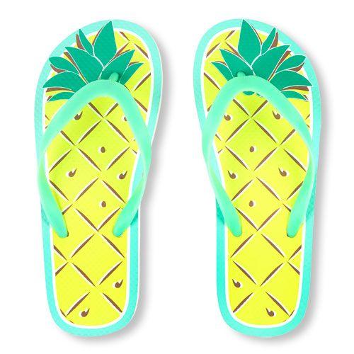 9bb48a763012c0 Girls Neon Pineapple Graphic Flip Flop